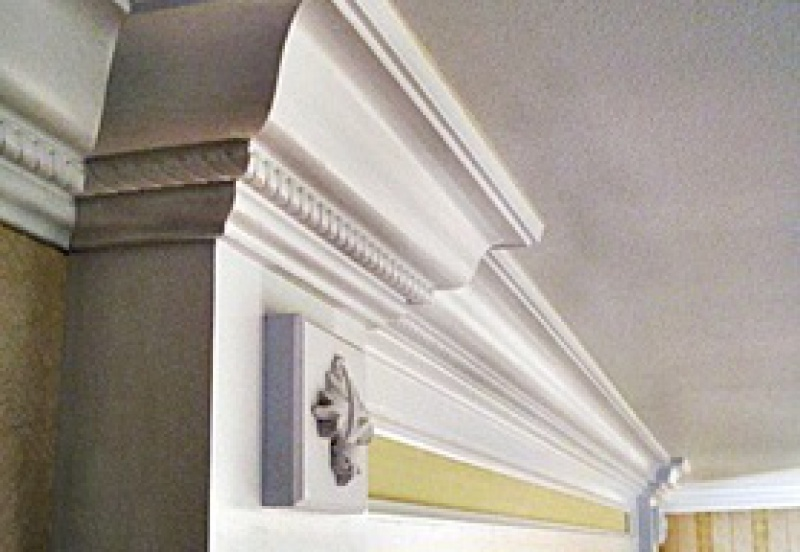 Crown molding in a formal hallway
