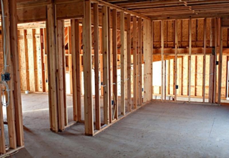 Interior wood stud wall