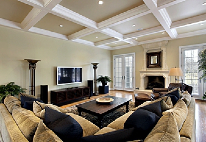 White coffered ceiling in a beautiful living room