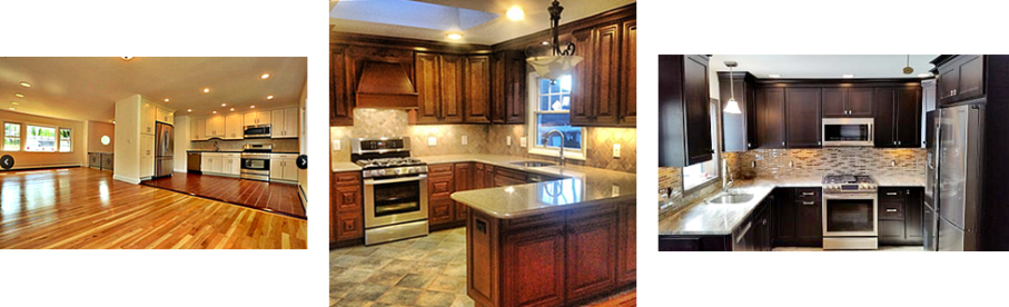 three completed kitchen renovations by The Renovation Company