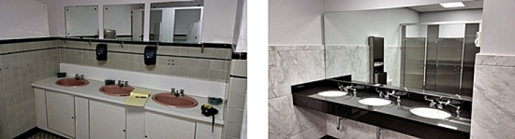 before and after woman's bathroom renovation